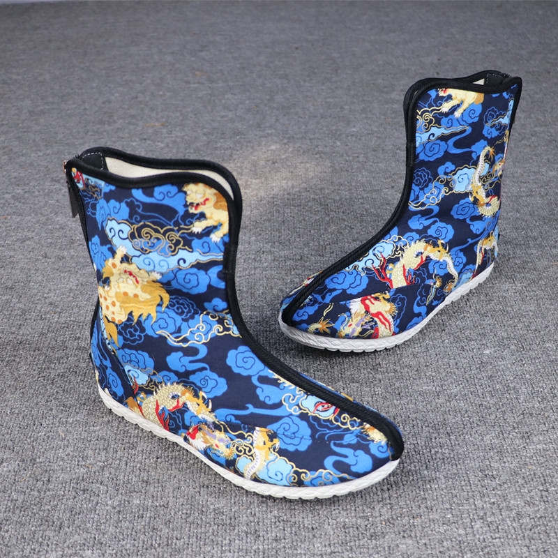 Spring and summer Chinese Style Mens cloth shoes official boots Kirin gilt printing high top shoes antique shoes mens Han boots single shoes