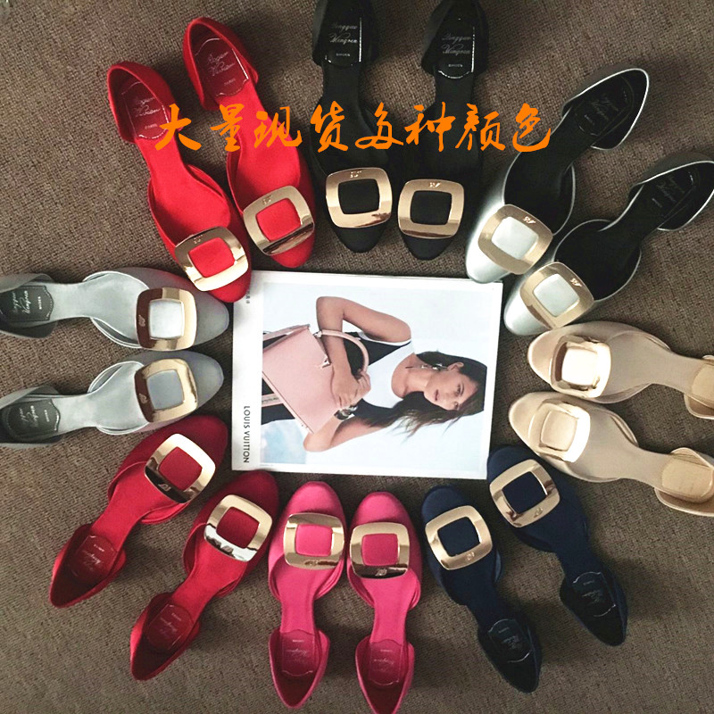 Europe station metal square buckle womens single shoes real silk satin wedding shoes pointed shallow mouth flat shoes hollow sandals womens summer