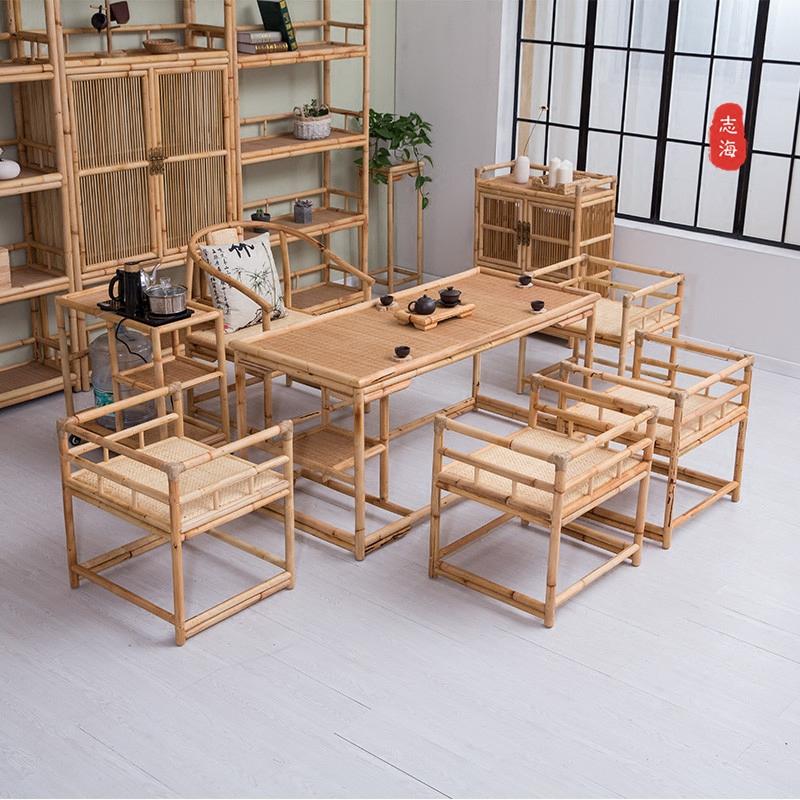 现代新中式茶桌椅组合实木禅意茶道家具简约竹藤功夫茶几茶艺桌子图片