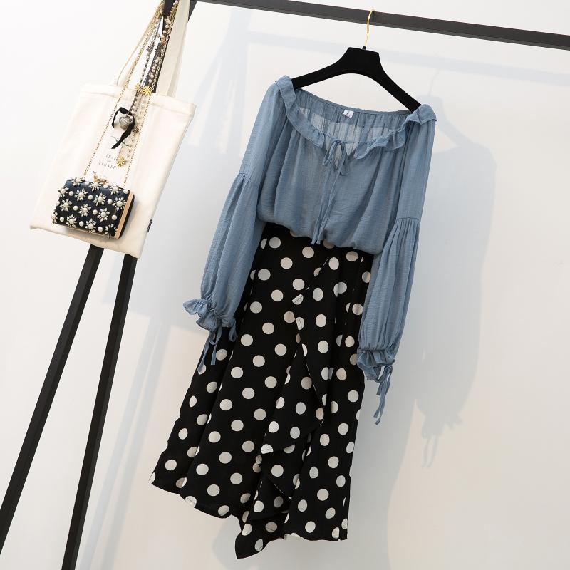 实拍大码女装胖MM2019新款韩范宽松百搭雪纺衬衫上衣+波点半身裙