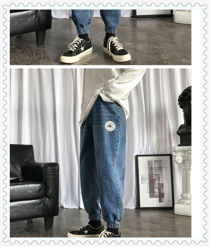 男孩大童宽松直筒长裤初中学生裤子潮流高中生青少年松紧腰牛仔裤