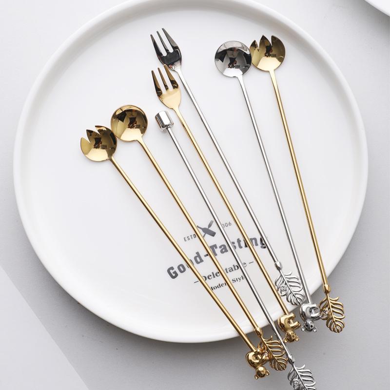 吉乐岛 创意304不锈钢咖啡长柄勺叉 水果签针沙拉叉点心叉搅拌棒