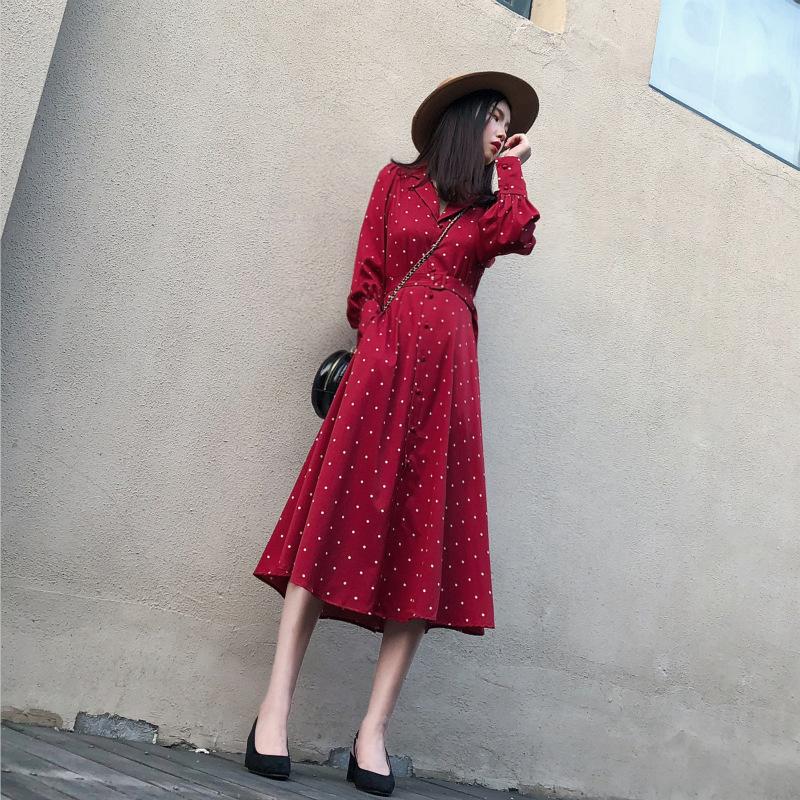 2019秋冬新款红色波点打底雪纺收腰气质流行潮流连衣裙券后105.00元