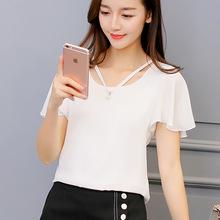 新款韩版修身女装 2017打底衫时尚春夏短袖 休闲雪纺衫