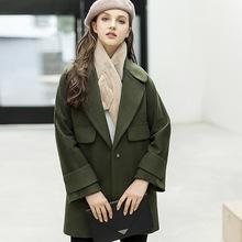 新款欧洲站 长袖女式2017大码呢大衣毛呢外套 大码 百搭潮流
