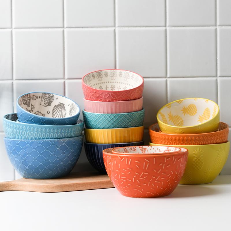 限时抢购创意个性浮雕陶瓷小家用韩式米饭碗