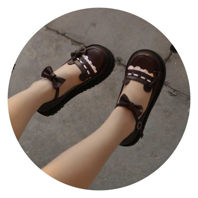 萌卡酱lolita原创 波波熊 低跟圆头可爱洛丽塔鞋少女单鞋