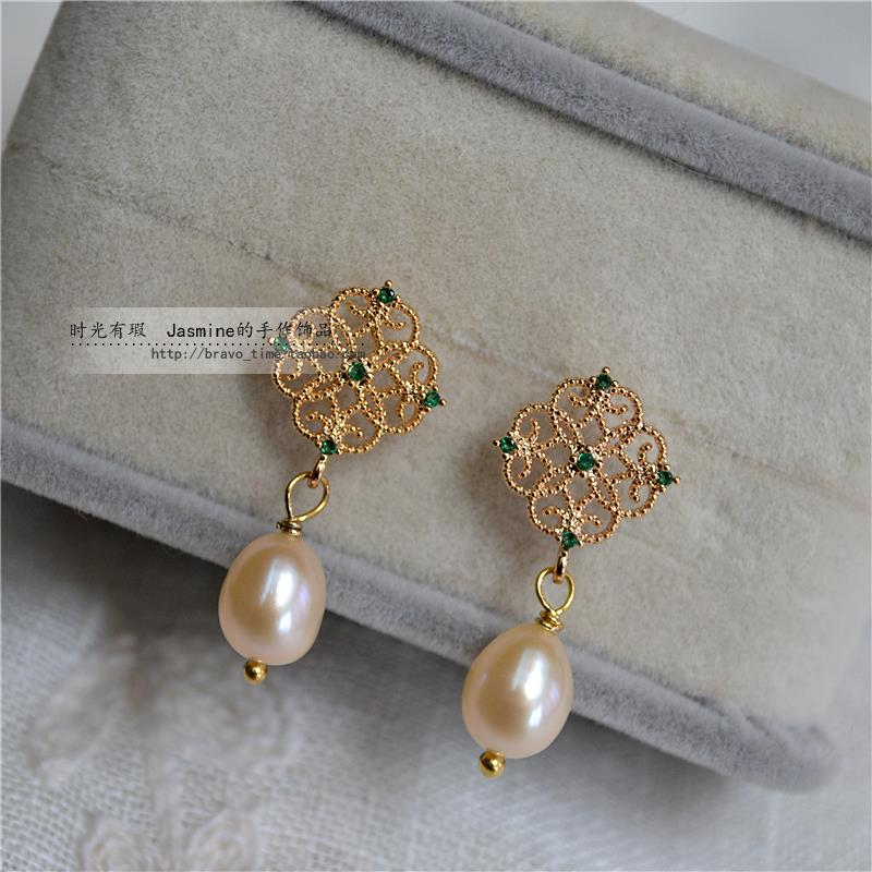 Retro small exquisite lace emerald Zircon Earrings natural pearl earrings Qipao Hanfu accessories