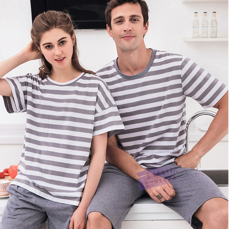 Bamboo fiber mens home wear set half sleeve striped top and shorts outdoor living clothes casual pajamas pajamas package mail