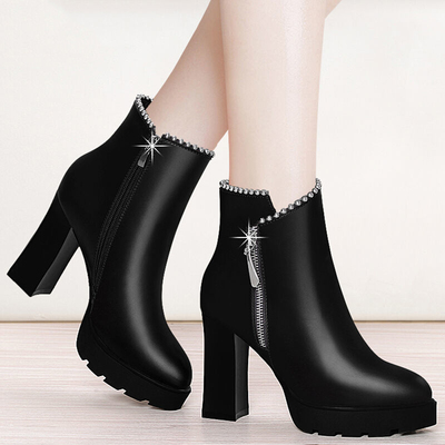 高跟鞋粗跟短靴女2020新款秋冬加绒靴子圆头女鞋马丁靴女单靴拉链