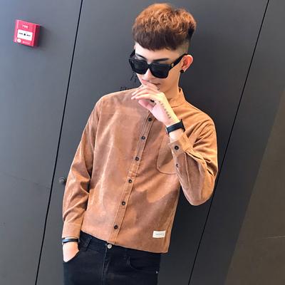 2018秋裝新款燈芯絨立領寬松襯衣男青少年襯衫A460-1C307P45