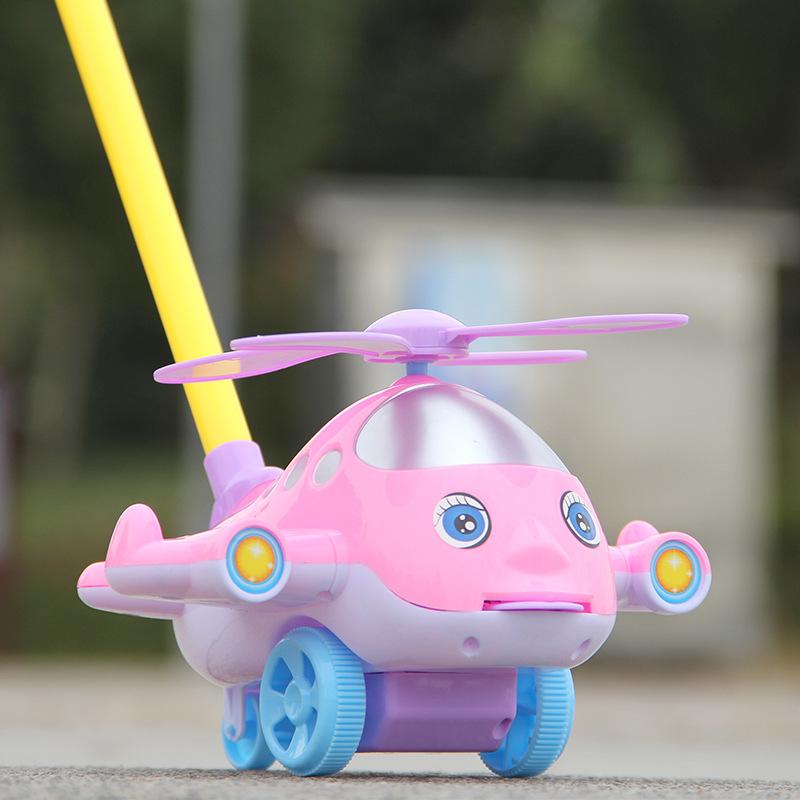 宝宝小飞机学步车手推车儿童玩具推推乐单杆响铃婴儿学走路助步车