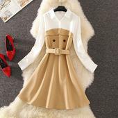 收腰连衣裙中长款 领连衣裙 假两件衬衫 女士新款 2019春秋韩版 女长袖