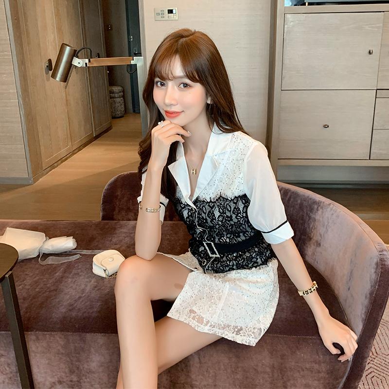 實拍 芙娜妮名媛氣質蕾絲連衣裙2020新款輕熟風洋氣時尚顯瘦裙子