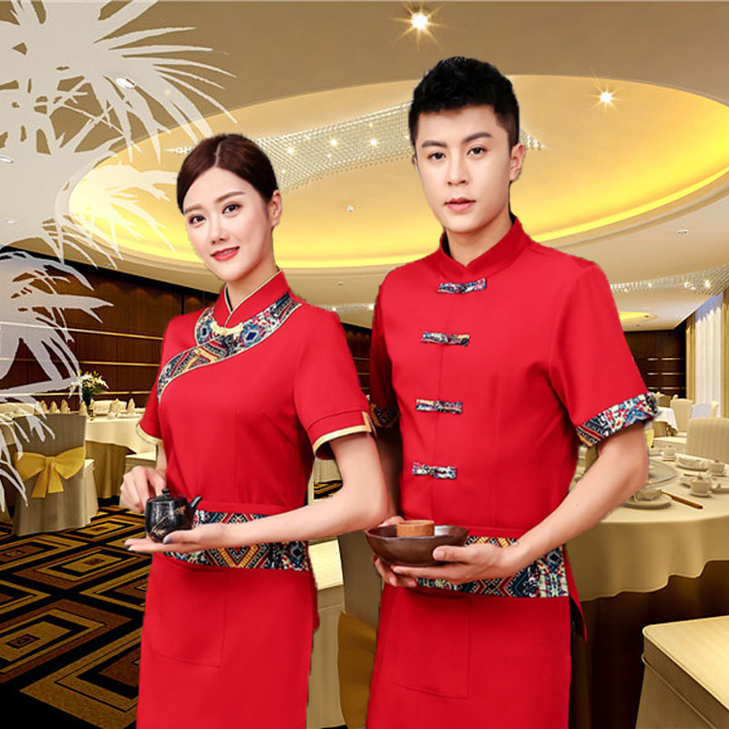 Catering work clothes waitress summer short sleeve ethnic style Chinese restaurant work clothes hot pot restaurant farmhouse clothes