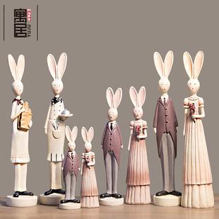 欧式 田园复古情侣兔子新房结婚庆酒柜装 饰饰品家居摆件新婚礼生日