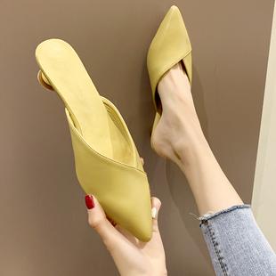 小清新少女包頭半拖鞋女夏學生低跟尖頭高跟鞋粗跟百搭涼拖鞋女潮