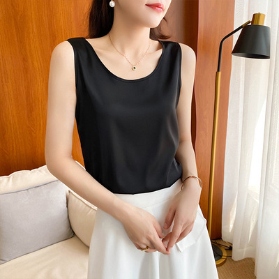 Silk small fragrance mulberry silk suspender vest womens silk satin bottom with suit inside and coat outside