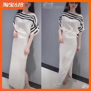 19新夏女潮抖音同款網紅街拍白色黑條紋斜肩半袖襯衫開叉半裙套裝