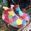 真皮牛皮 彩色彩虹 拼接娃娃女短靴多色厚底舒适清仓折扣女鞋包邮