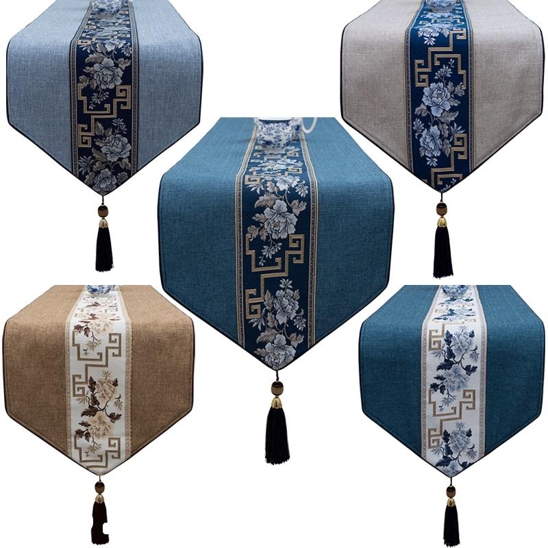 桌旗中式禅意茶桌布新中式古典中国风亚麻长条ins茶几电视柜桌布