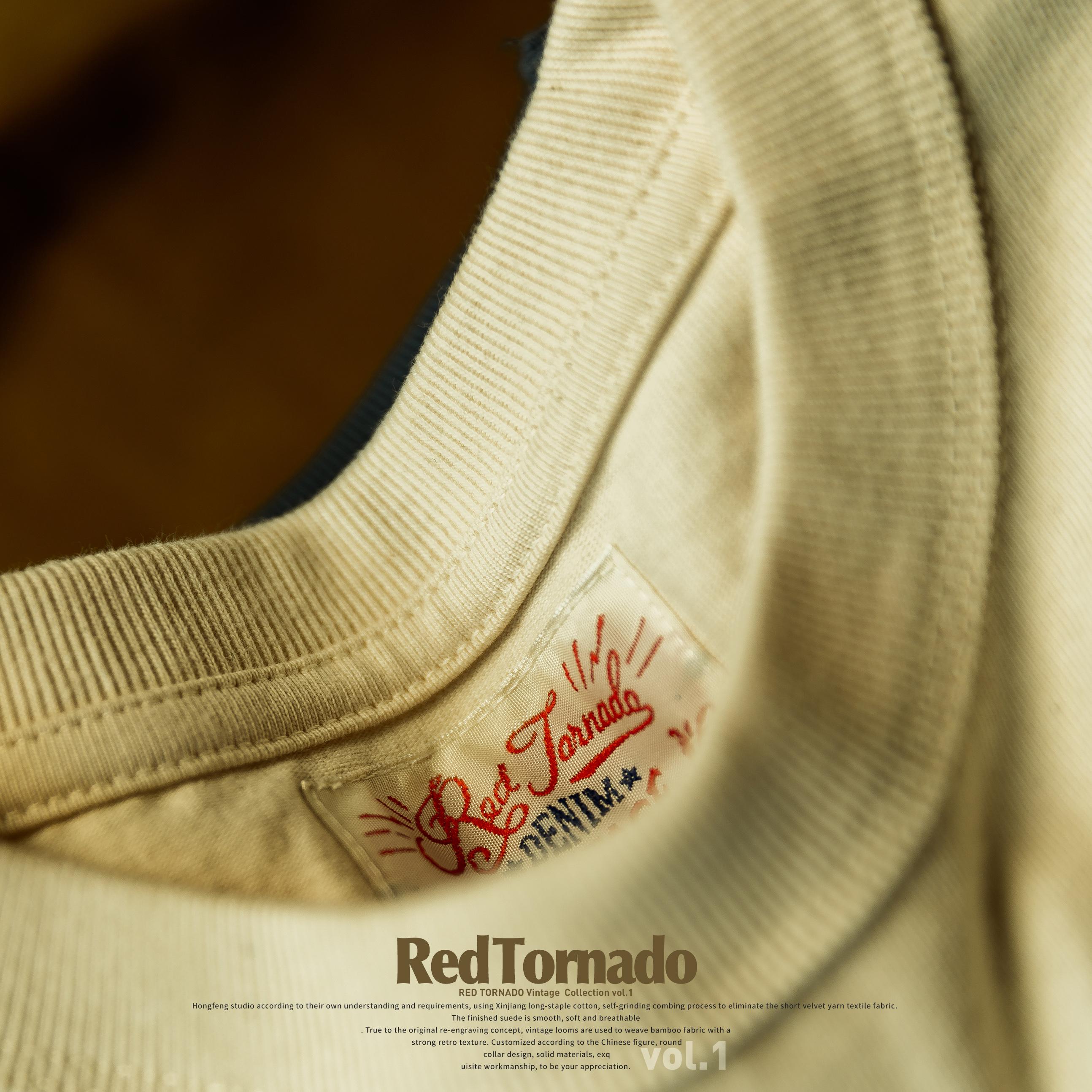 红风复古32支重磅阿美咔叽日系vintage男女新疆棉纯棉打底短袖T恤