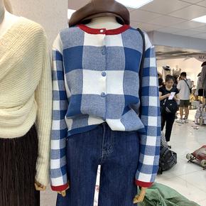 韩国东大门2020秋冬新款格子长袖针织衫开衫女宽松空调衫外套上衣