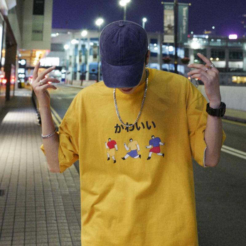 10月17日最新优惠潮牌男生短袖t恤夏季韩版学生半袖青少年原宿港风ing网红T