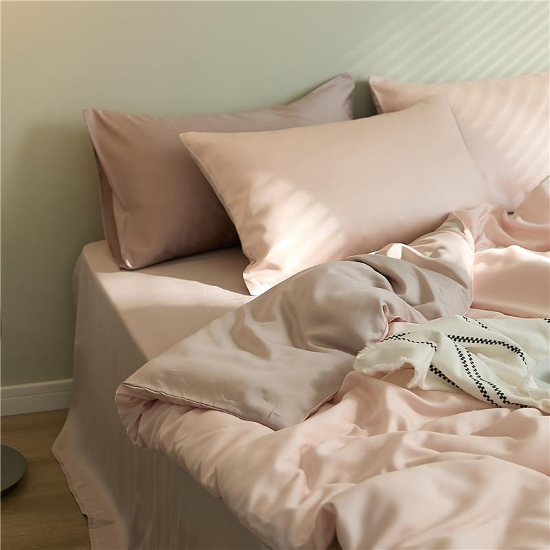 60支纯色丝绸裸睡莱赛尔天丝四件套夏季双面冰丝床单床笠被套床品