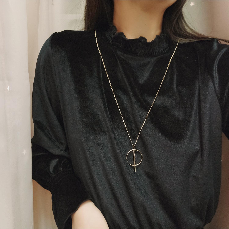 11-06新券cos 极简设计 高品质铜材质 圆环竖棍一体成形 长款项链毛衣链