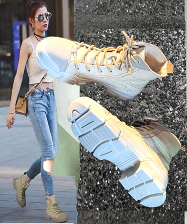 马丁靴女系带2018秋季新款帆布chic玫红色靴英伦风机车沙漠短靴女