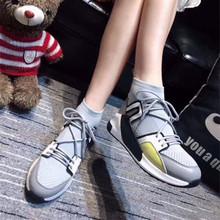 欧洲站秋冬新款休闲运动高帮袜套弹力布英伦韩版女鞋系带真皮女鞋