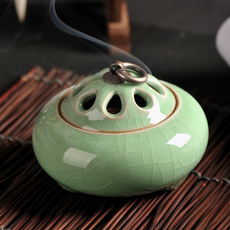 陶瓷客厅家用香炉香道点香八孔檀香炉桌台摆件室内佛堂青瓷香薰炉