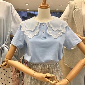 2020韩国订制夏装新款娃娃领女t恤