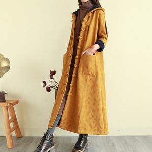 复古民族风女装加绒盘扣麻棉衣袍子