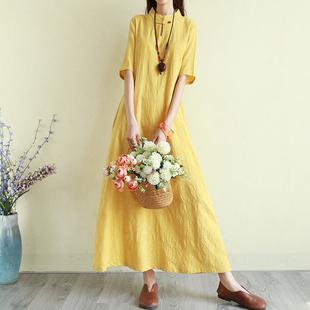复古文艺范棉麻连衣裙夏季短袖超长款旗袍裙气质长裙子宽松民族风