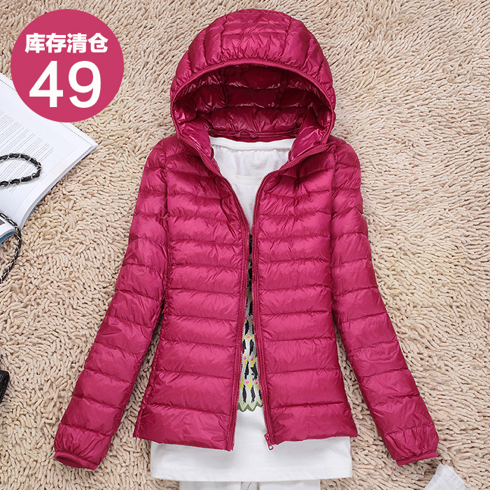New ultra light and thin womens down jacket, hooded and slim, short, thin, autumn and winter large size coat, off season clearance package