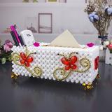手工DIY串珠成品蝴蝶双飞纸巾盒餐桌摆件装饰多功能收纳盒抽纸盒