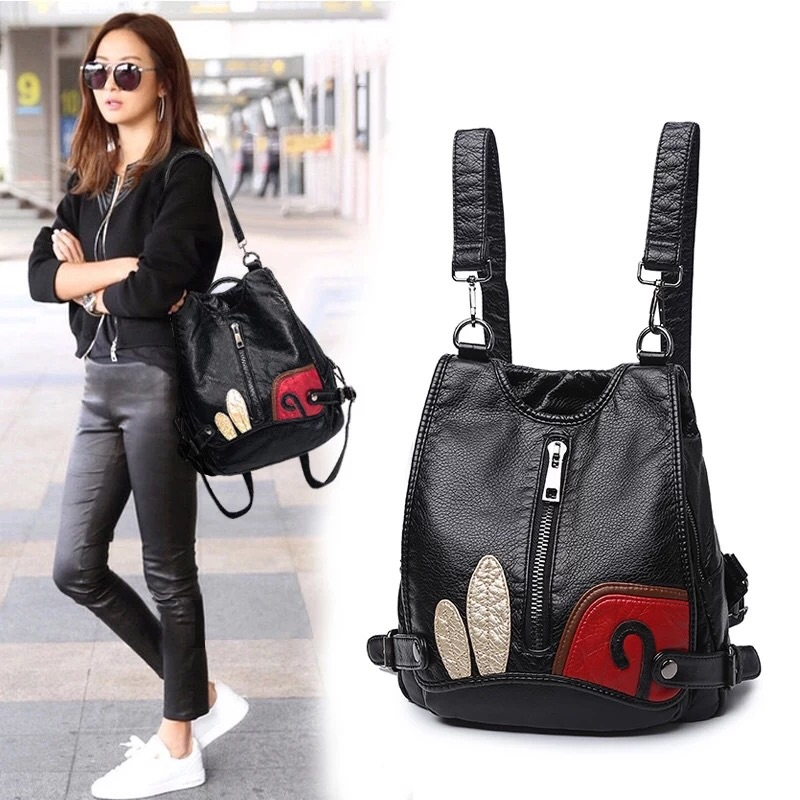 Backpack womens 2021 new Korean versatile fashion leather backpack multi functional soft leather large capacity womens bag
