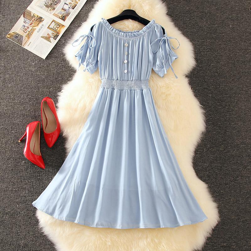 很仙的松紧一字肩雪纺连衣裙2019新款夏显瘦纯色气质仙女长裙及踝
