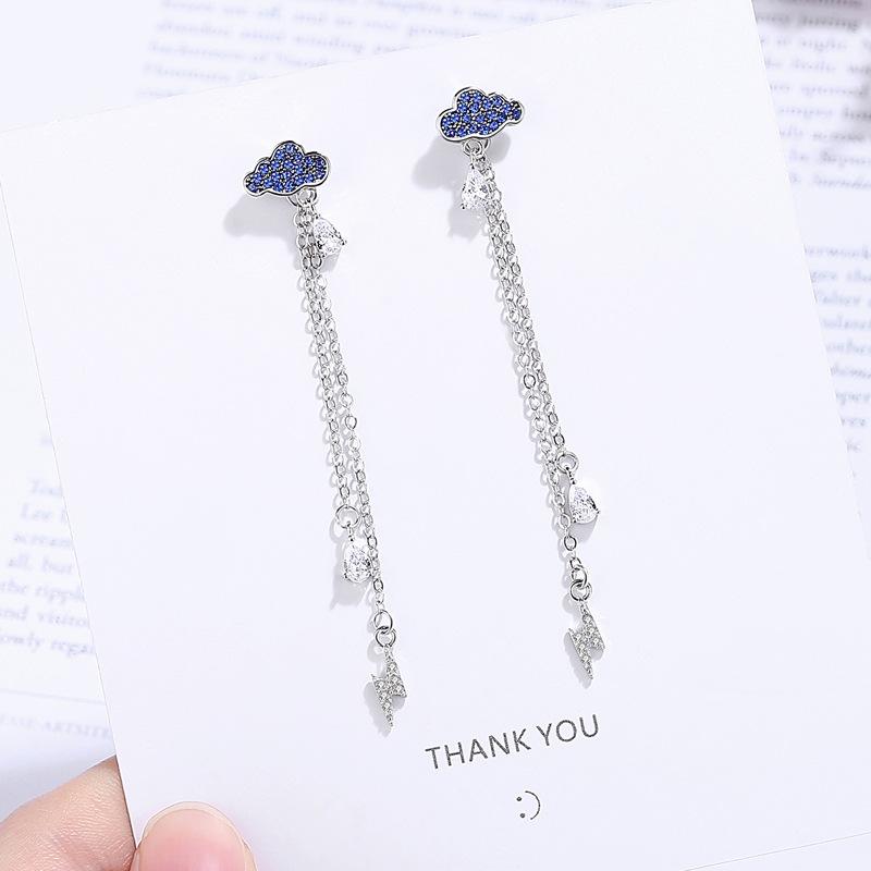 一款两戴蓝色耳钉s925纯银镀白金长款流苏耳线个性后挂水滴耳环