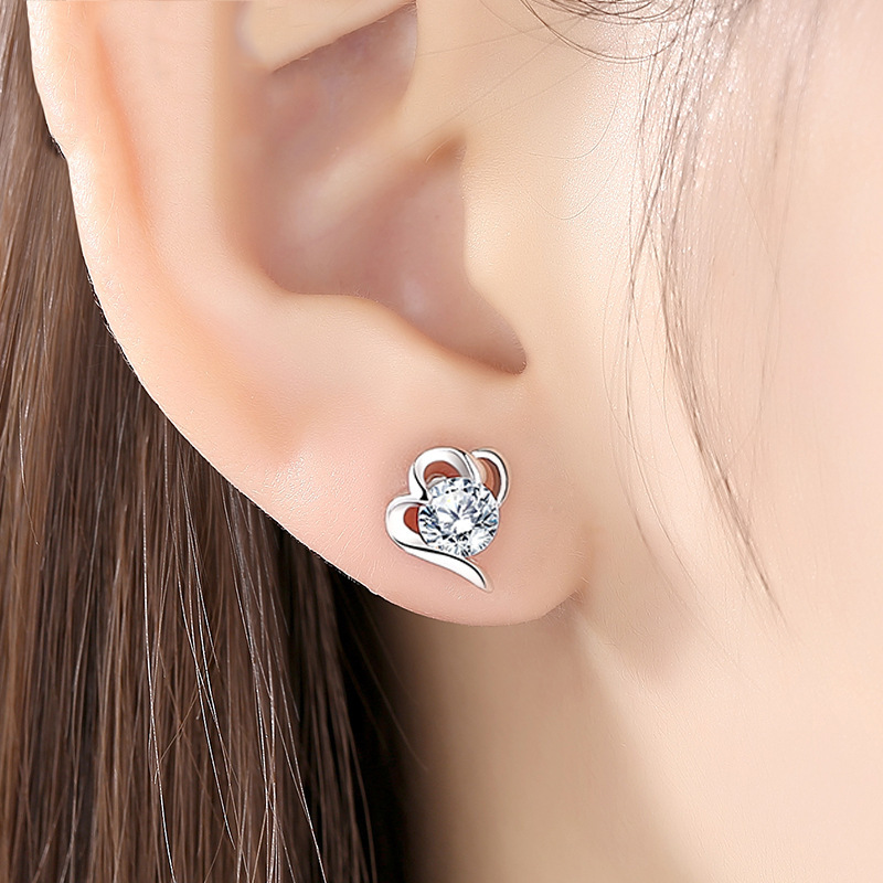 高质感s925纯银镀白金耳钉女2021年新款小众耳环简约气质夏季耳饰