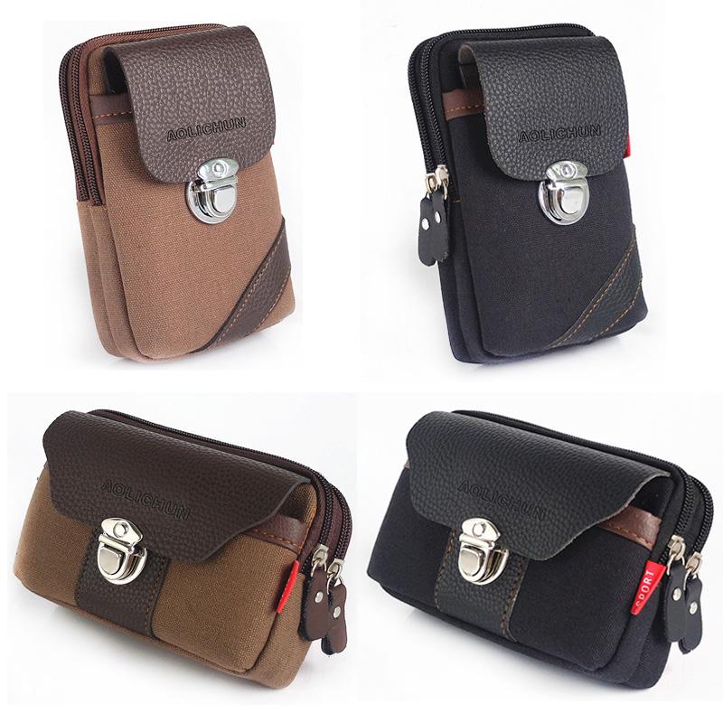 手机包男士穿皮带腰包5.5寸钱包竖款帆布老人机腰袋横款多功能包