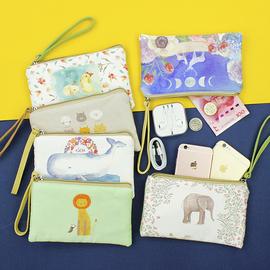 大屏手机包钱包女士可爱卡通拉链布艺日韩简约大容量手拿包零钱包图片