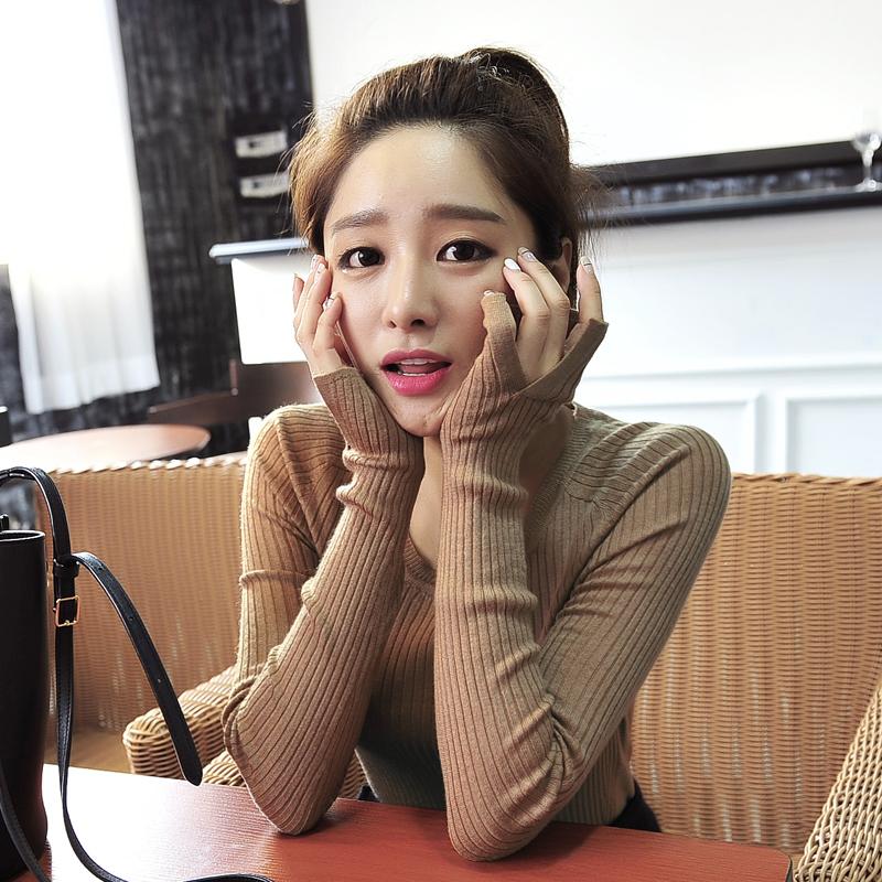 Round neck bottomed sweater Pullover female autumn winter slim long sleeve split top Korean bottomed sweater