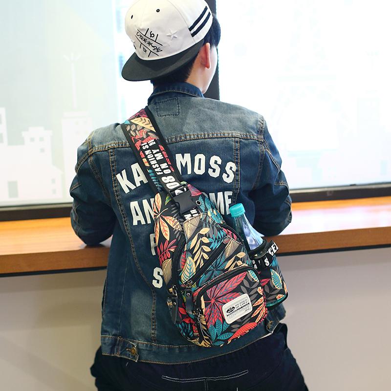 胸包男士韩版潮流胸前斜挎包休闲帆布男包单肩包腰包运动小背包包