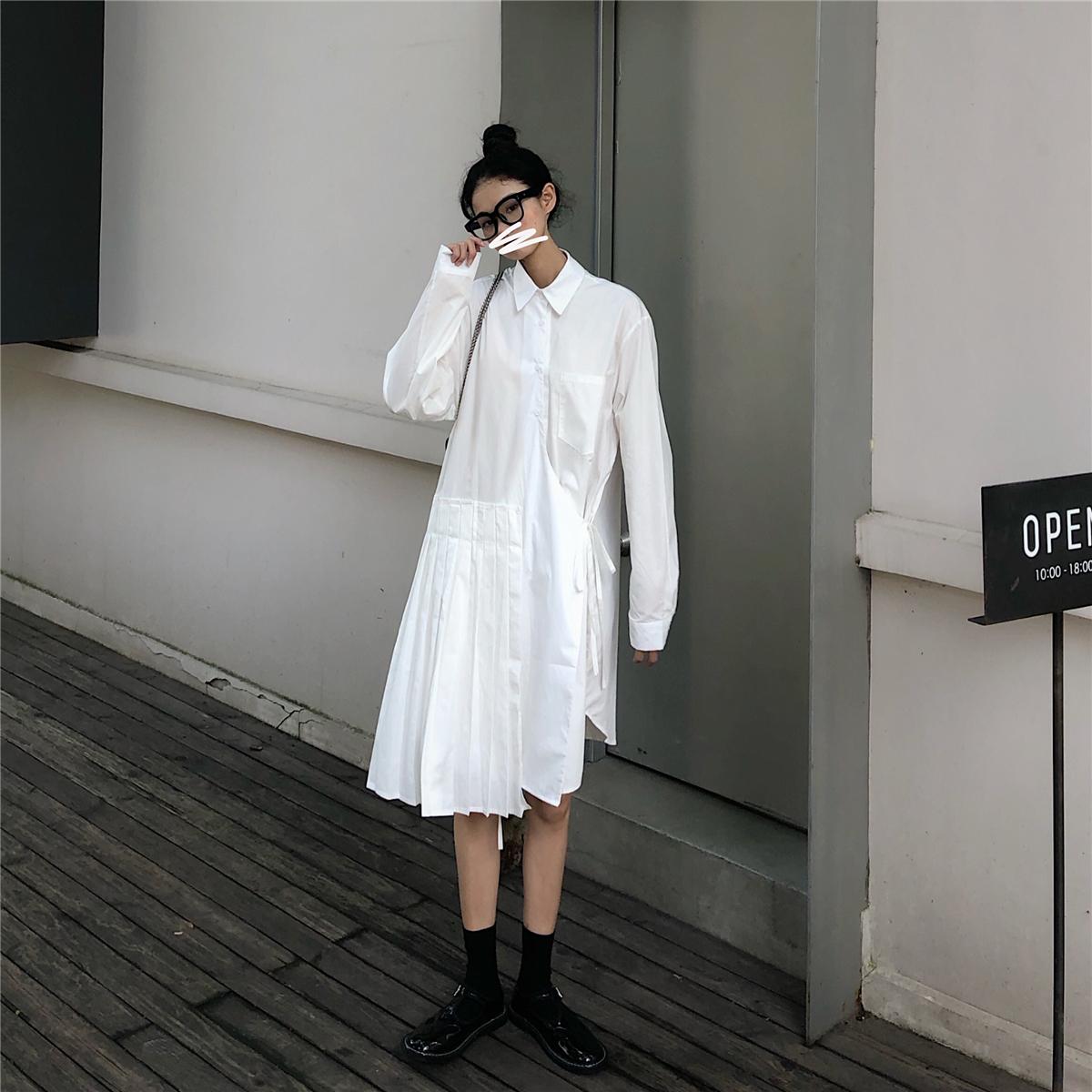 孙啦啦日系白色设计感小众秋衬衫裙热销73件不包邮