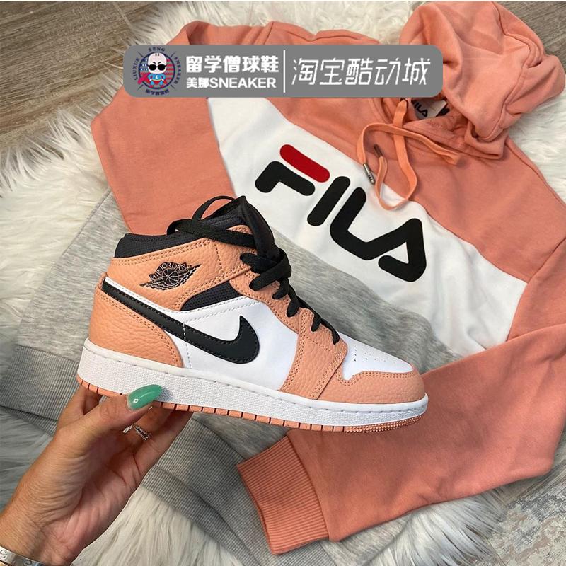 Air Jordan 1 Mid男 AJ1gs女中帮小麦篮球鞋 554724/554725-119图片