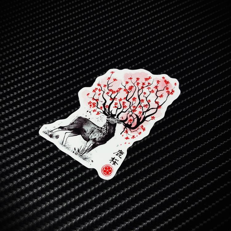 鹿花图腾潮牌行李旅行箱贴纸个性防水汽车贴 笔记本电脑贴纸X0103