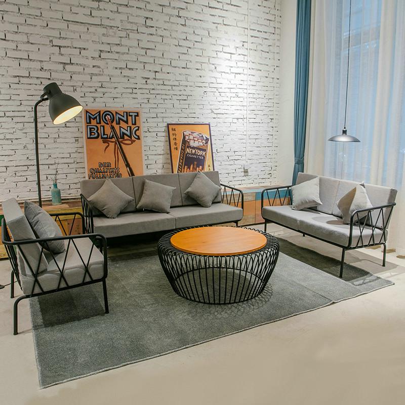 北欧现代简约卧室沙发椅LOFT工业风工作室服装店办公铁艺沙发组合